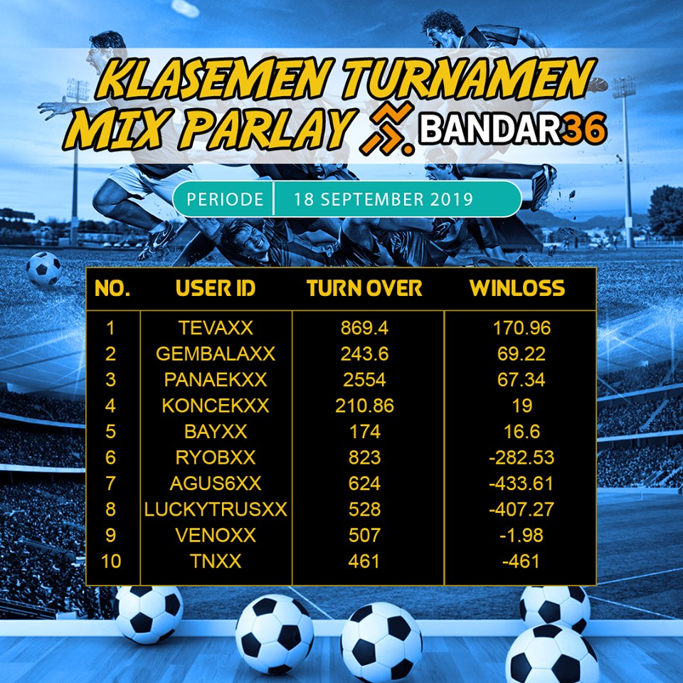pemenan turnamen mix parlay periode september bandar36
